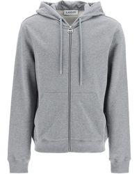 Lanvin Logo Print Full Zip Hoodie L Cotton - Grey