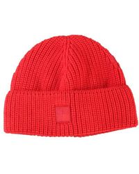 Woolrich Logo Patch Knitted Beanie - Red