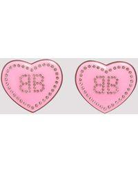 Balenciaga Monogram Heart Earrings - Pink