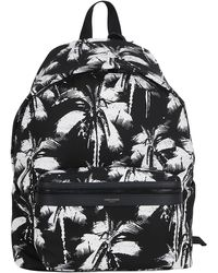 Saint Laurent Palm Print Pouch City Backpack - Black