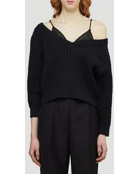 T By Alexander Wang Off The Shoulder Pullover - Black