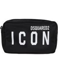 DSquared² Logo Printed Zip-up Wash Bag - Black