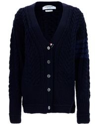 Thom Browne 4-bar Cable Knit Cardigan - Blue