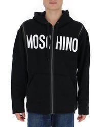 Moschino Zipped Logo Print Hoodie - Black
