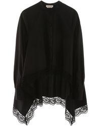 Alexander McQueen Asymmetric Lace Trim Blouse - Black