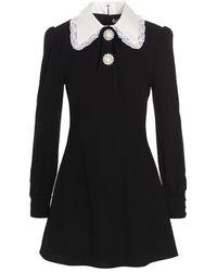 Alessandra Rich Lace-collar Mini Dress - Black