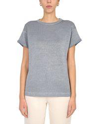Brunello Cucinelli Crew Neck Lurex Cotton T-shirt - Blue