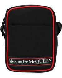 Alexander McQueen Logo Print Messenger Bag - Black