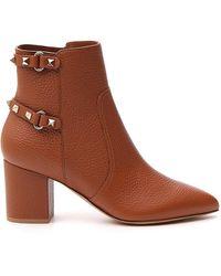Valentino Valentino Garavani Rockstud Ankle Boots - Brown