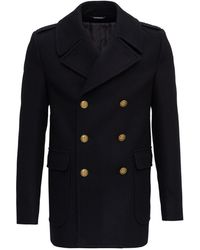 Givenchy Woollen Cloth Peacoat With 4g Buttons - Blue