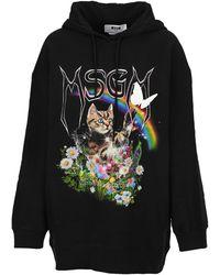 MSGM Graphic Printed Oversized Hoodie - Black