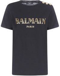 Balmain Logo Print Button Detail T-shirt - Black