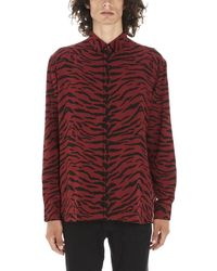 50c814df Versace Men's Zebra/giraffe Printed Long-sleeve Silk Shirt in Black ...