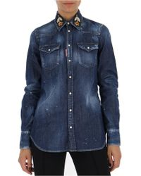 DSquared² - Floral Embroidered Denim Shirt - Lyst