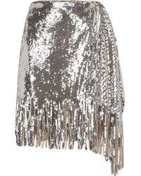 Pinko Sequin-embellished Fringed Skirt - Metallic