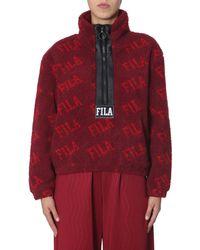 "Fila ""jayla"" Oversize Fit Sweatshirt With Zip - Red"