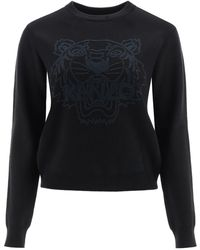 KENZO Sweater With Tiger Embroidery S Wool,cotton - Black