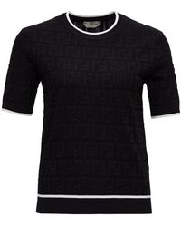 Fendi Short Sleeve Knitted Top - Black