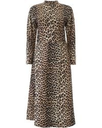 Ganni Leopard Print Midi Dress - Multicolour
