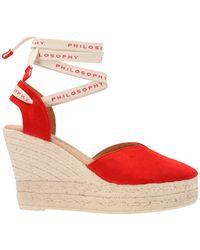 Philosophy Di Lorenzo Serafini Ankle Strap Wedge Espadrilles - Red