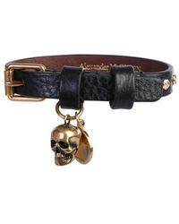 Alexander McQueen Buckle Skull Bracelet - Black