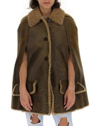 Miu Miu Hooded Arm Slit Cape - Brown
