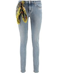 Off-White c/o Virgil Abloh Printed Foulard Detail Slim-fit Jeans - Blue