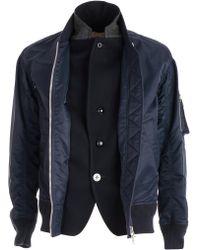 Sacai - Zipped Biker Jacket - Lyst