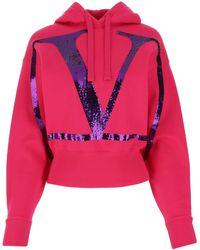 Valentino Fuchsia Cotton Blend Sweatshirt Nd - Pink