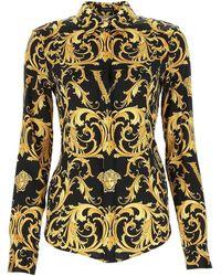 Versace V Barocco Print Silk Twill Shirt - Yellow