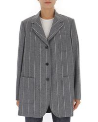 Thom Browne Pinstripe Oversize Sports Coat - Gray