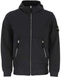 Stone Island Black Stretch Polyester Jacket Nd Uomo