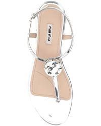 Miu Miu Crystal Embellished Thong Sandals - Metallic