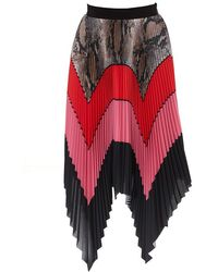 MSGM Colour Block Pleated Skirt - Red