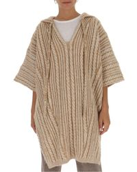 Chloé Cable-knit Hooded Poncho - Natural