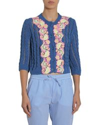 Boutique Moschino Cardigan With Embroidered Details - Blue