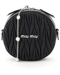 Miu Miu Quilted Round Mini Bag Crystal Chain - Black