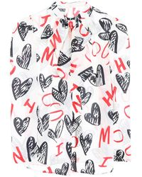 Moschino Tie-neck Printed Blouse - Red