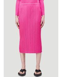 Pleats Please Issey Miyake Pleated Midi Skirt - Pink