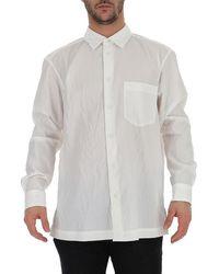 Issey Miyake Buttoned Crepe Shirt - White