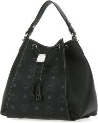 MCM Luisa Visetos Drawstring Bucket Bag - Black