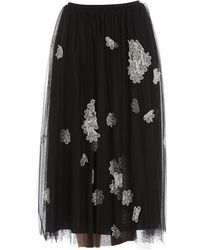 RED Valentino Floral Embroidered Tulle Skirt - Black