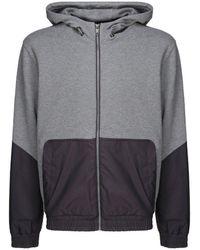 Z Zegna Long-sleeved Paneled Hoodie - Gray