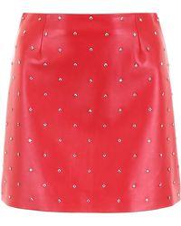 Miu Miu Studded Leather Mini Skirt - Red
