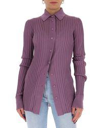 Bottega Veneta Ribbed Buttoned Shirt - Purple