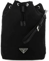 Prada Logo Plaque Drawstring Pouch Bag - Black