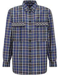 Versace - Greca Plaid Long-sleeve Shirt - Lyst