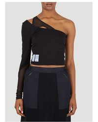 McQ Twisted One Shoulder Top - Black