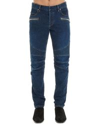 Balmain Logo Embroidered Biker Jeans - Blue