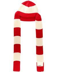 Sunnei Striped Knit Beanie - Red